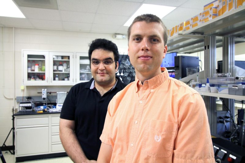Assistant Professor Jonathan Boreyko, front, and doctoral student Farzad Ahmadi