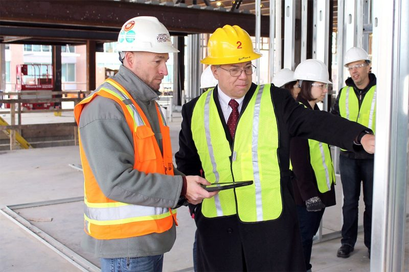 The veterinary college's interim dean, Gregory Daniel, and the Veterinary Teaching Hospital's oncology team touring the construction site of the Comparative Oncology Research Center in Roanoke, Virginia