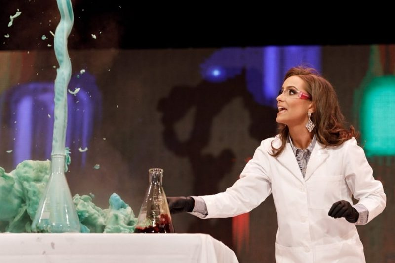 Camille Schrier, 2018 VT alumna, performs a chemistry demonstation for the Miss Virginia pageant.