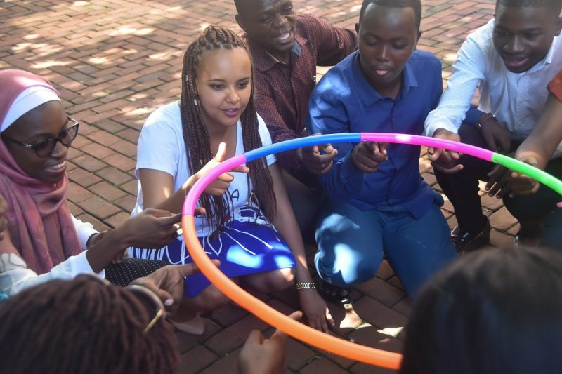 Mandela Washington Fellows participate in a team building exercise