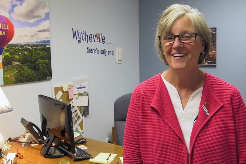 Wytheville Mayor Beth Taylor stands in her office in town hall