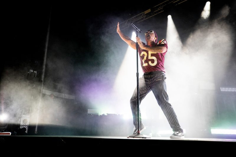 Anderson .Paak performs during a concert on the Drillfield to mark the launch of Virginia Tech's Boundless Impact fundraising campaign.