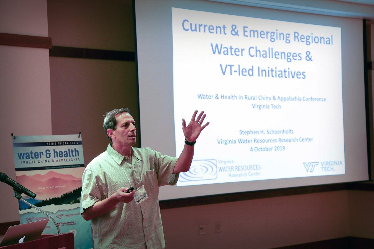 Stephen Schoenholtz presenting at the Water&Health Conference