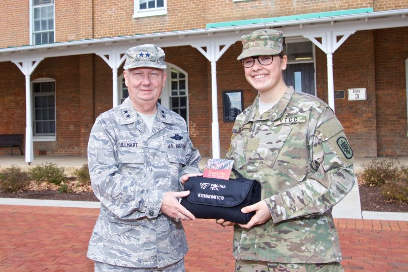 Cadet Jennifer Wells delivered gift to Maj. Gen. Randal Fullhart