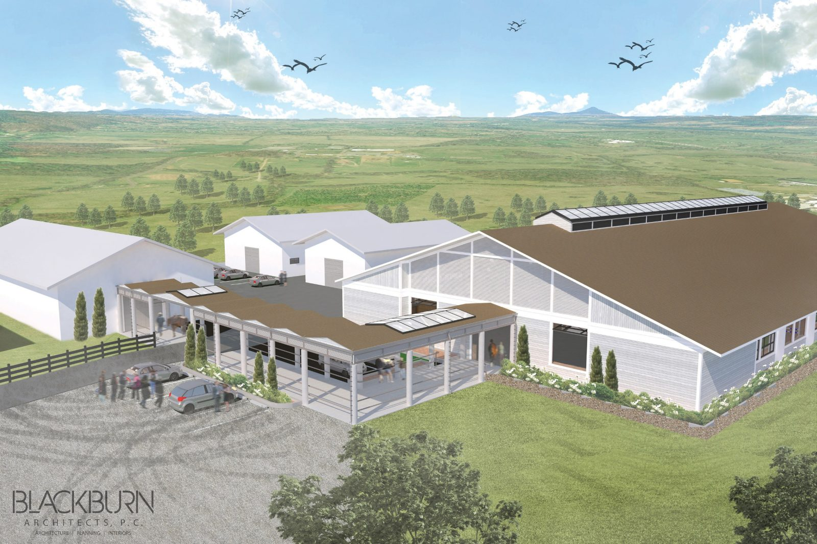 Architectural rendering of Equine Medical Center's indoor arena