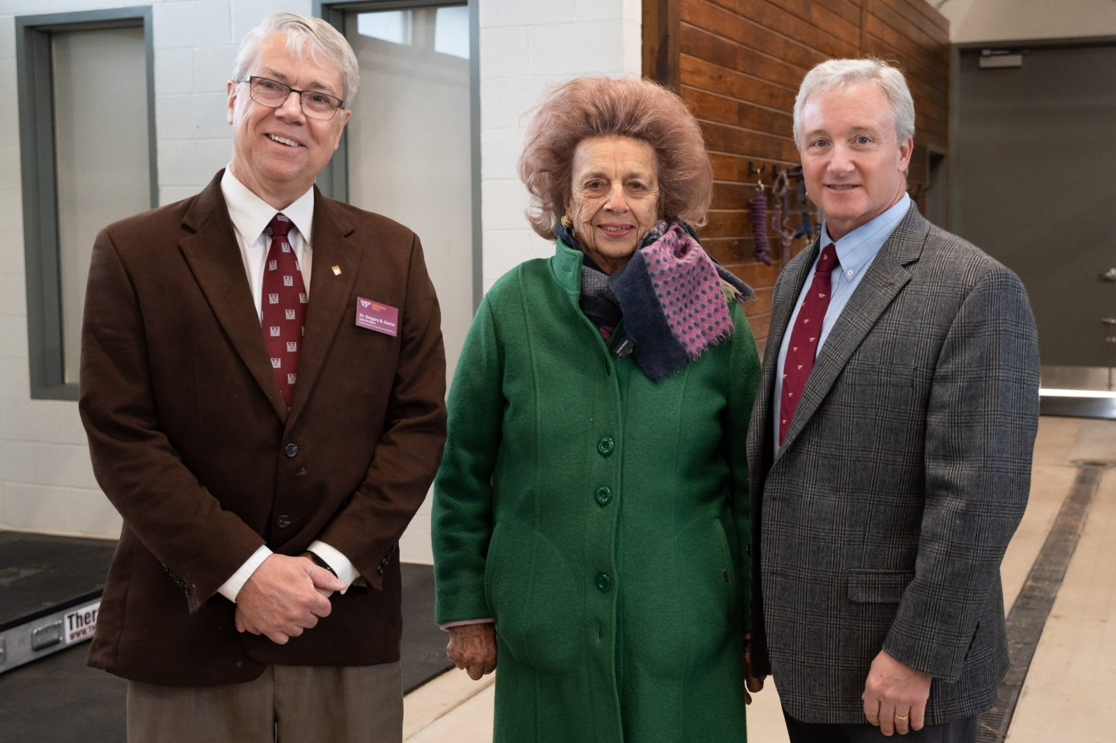 "Veterinary college's interim dean Gregory B. Daniel, Miss Beverly ""Peggy"" Steinman, and Michael Erskine, EMC director"