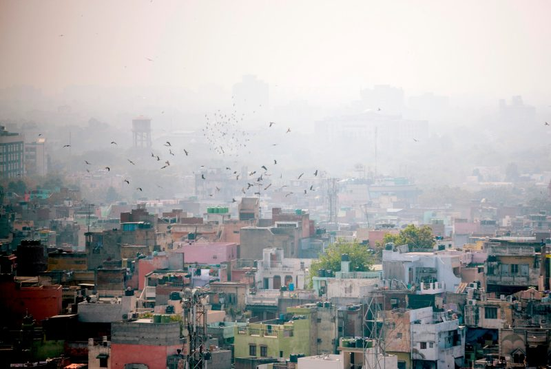 The air over in Delhi, India, is shown as heavily polluted in this stock image