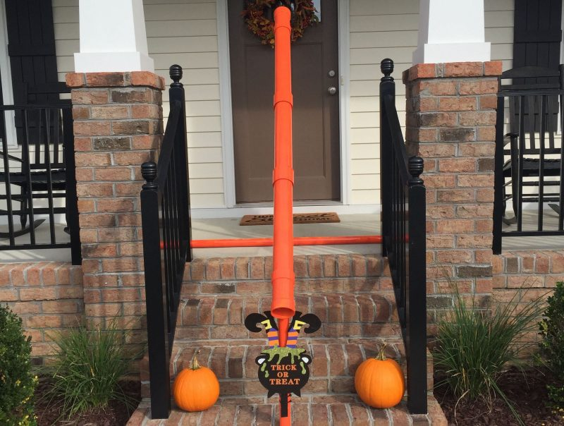 Chris and Nicole Minor made a candy slide out of PVC pipes at their home in Ashland, Virginia, to make way for contactless trick-or-treating this Halloween. Photo provided by Chris Minor.