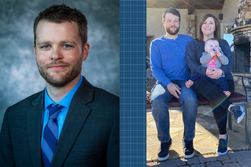 Left photo: portrait shot of Kyle Nolan. Right photo: Kyle and his wife holding their baby