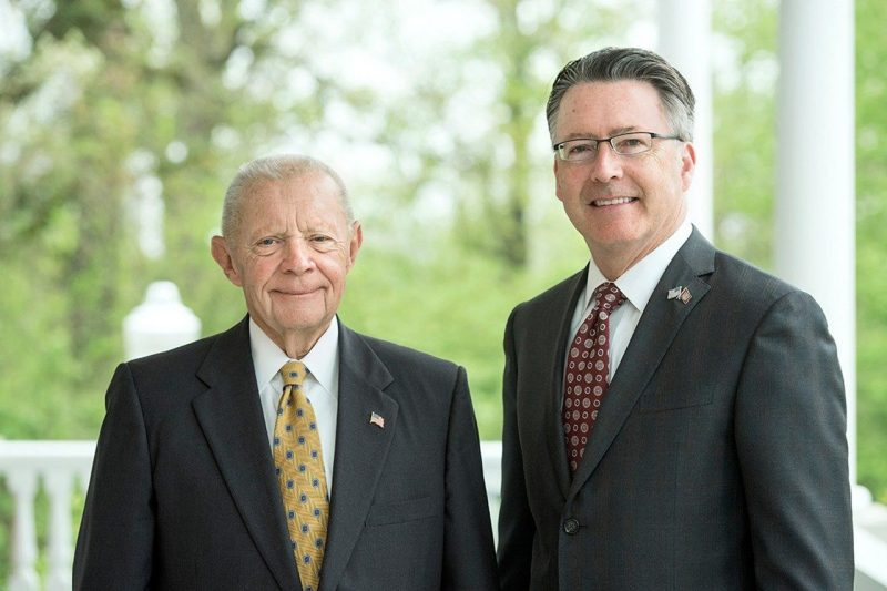 Russell HItt and Virginia Tech President Tim Sands