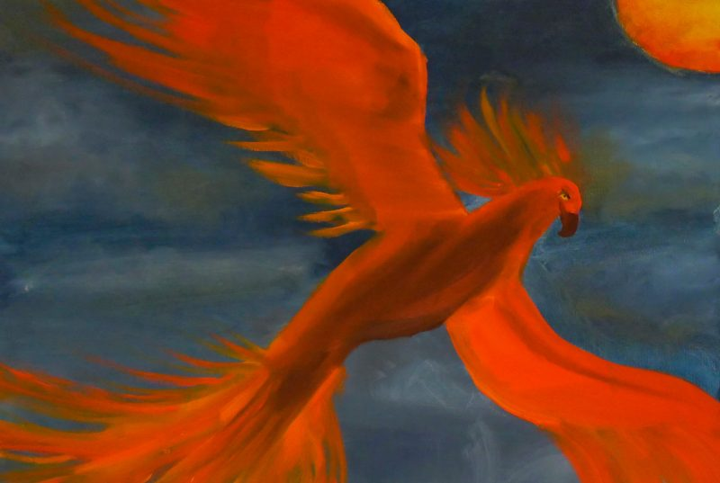 Painting of an orange phoenix soaring against a blue background
