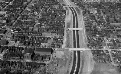 An overhead shot of construction of Interstate 95 in downtown Richmond, Virginia.