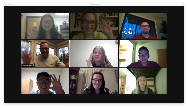 Some Virginia Tech students who spent Thanksgiving in on-campus quarantine and isolation space joined several members of the Division of Student Affairs staff for a virtual Zoom gathering on Thanksgiving Day. Pictured are top row (left to right): Thea Torrisi, student RA; Sarah Stayer, student life coordinator; Sean Grube, director of Housing and Residence Life; middle row (left to right): Frank Shushok, vice president for Student Affairs; Jillian Boersma, student; Carminie Marro, student; bottom row (left to right): David Woo, student; Amanda Eagan, assistant director for Housing and Residence Life; and Suzanne Fox, student. Photo provided by Sarah Stayer.