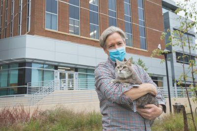Animal Cancer Care and Research Center client Peter Haberkorn and his cat, Kokomo