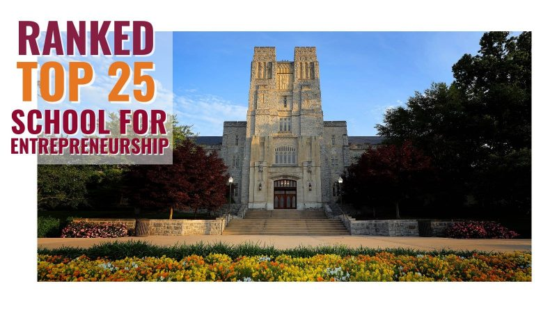 "Photo shows Burruss Hall and the headline, ""Ranked Top 25 School for Entrepreneurship."""