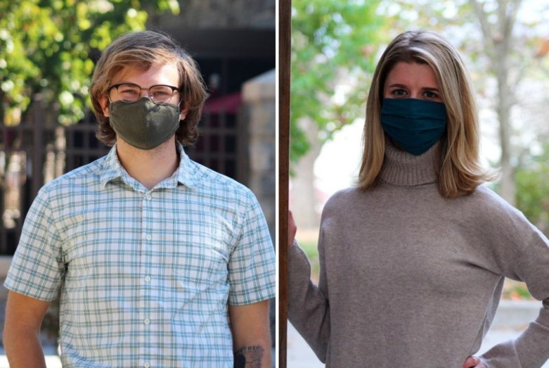 Side-by-side images of a young man and a young woman wearing face coverings.