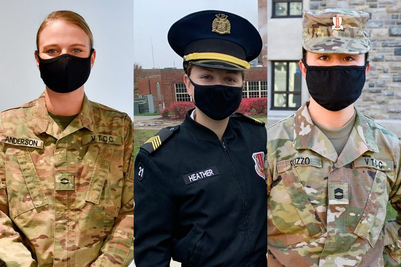 From left are cadets Morgan Anderson, Kayleigh Heather, and Lyla Ruzzo.