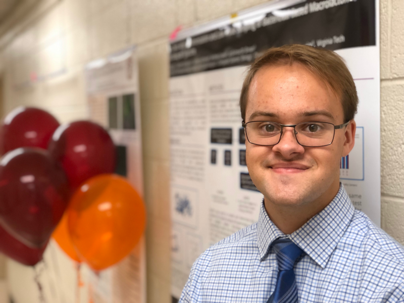 Tanner Spicer presented his work at the Engelpalooza Biochemistry Undergraduate Research Symposium in October 2019. Photo courtesy of Carter Gottschalk.
