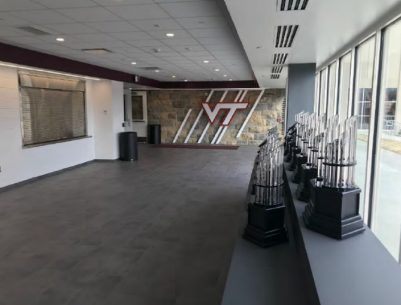 Rector Fieldhouse trophy area post-renovations.