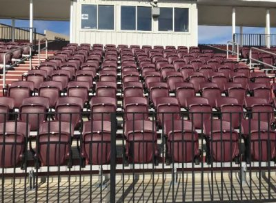 Tech Softball park bench seating post-renovations.