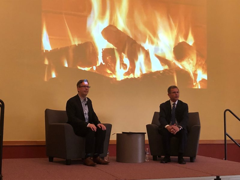 "Michael Beckley (left) was the featured guest at the Wells Fargo Distinguished Speakers Series ""fireside chat"" last fall with Pamplin Dean Robert Sumichrast."
