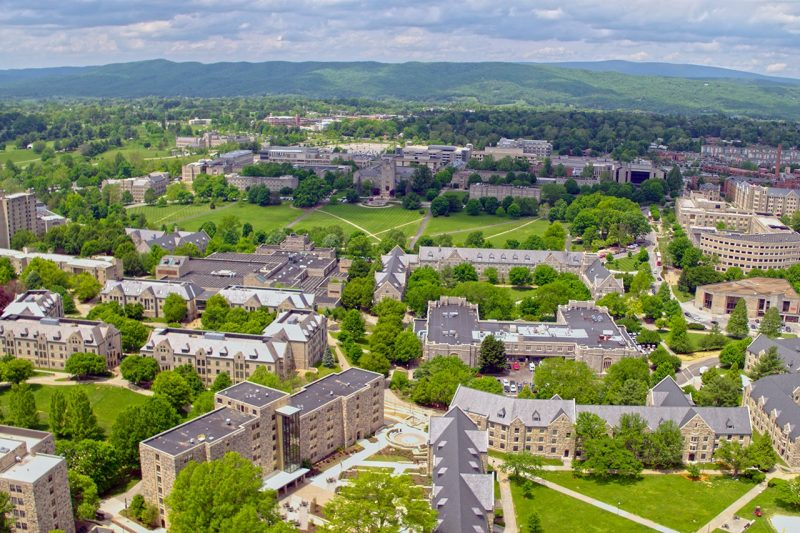 Aerial view of the Blacksburg campus