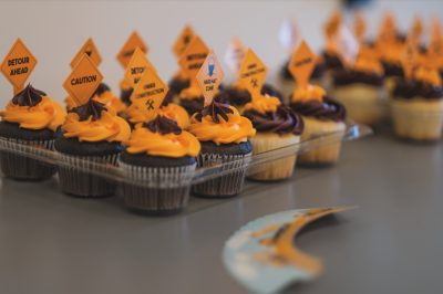 Construction-themed cupcakes
