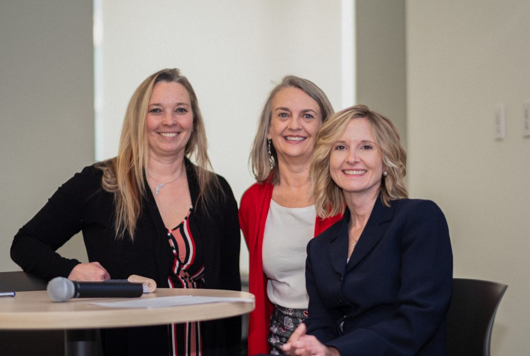 From left: Joy Manning, director of renovations;  Elaine Gall, university building official; and Heidi Myers, executive director of real estate, led a construction career development panel during Women in Construction Week. Photos by Sarah Myers.