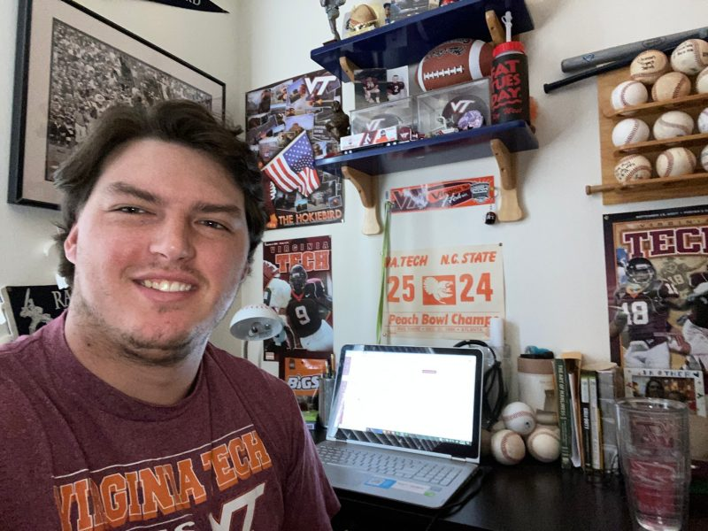 Jacob Edwards, a Virginia Tech senior, is one of the thousands of college students nationwide who has moved home to finish his spring semester classes online because of COVID-19.