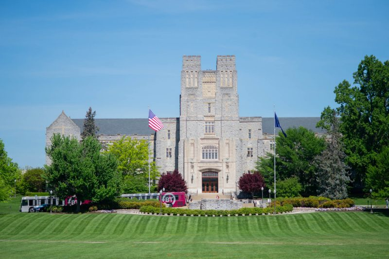 Burruss is seen on a sunny day from the Drillfield