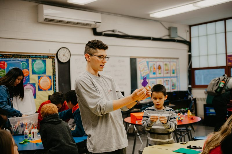 In February, Brandon Medellin, founder of Virginia Tech's Origami Club, taught origami to children at Gilbert Linkous Elementary School in Blacksburg.