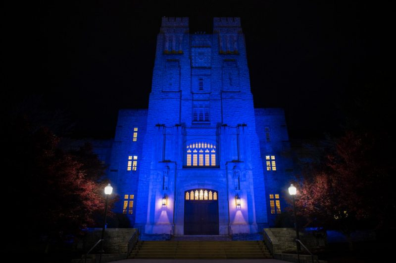 April 14, 2020 - Burruss Hall is lit up in blue lights to pay tribute to health care workers battling the Covid-19 pandemic. (Ryan Young / Virginia Tech)