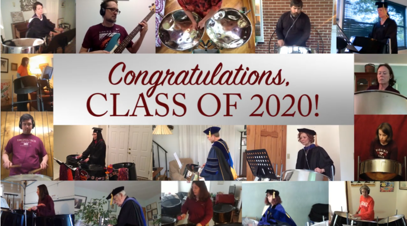 The Blacksburg PamJammers, comprised of many Virginia Tech faculty and staff, perform a virtual stay-at-home rendition of Pomp and Circumstance for the graduating Class of 2020. A screen-captured image shows members in their own collected screenshots performing the well-known song.