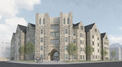 Exterior rendering of new Upper Quad Residence Hall