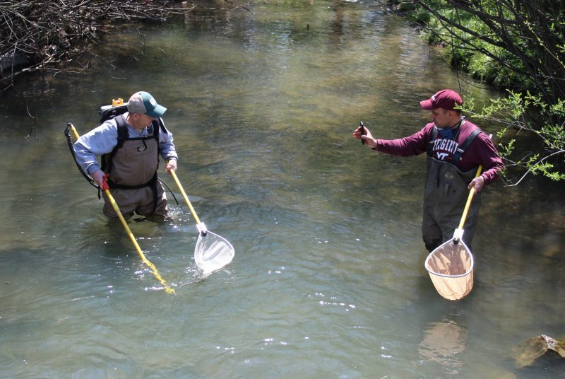 Two men wearing waders and holding fishing nets stand knee-deep in a stream. One facing the other while holding up a cellphone.