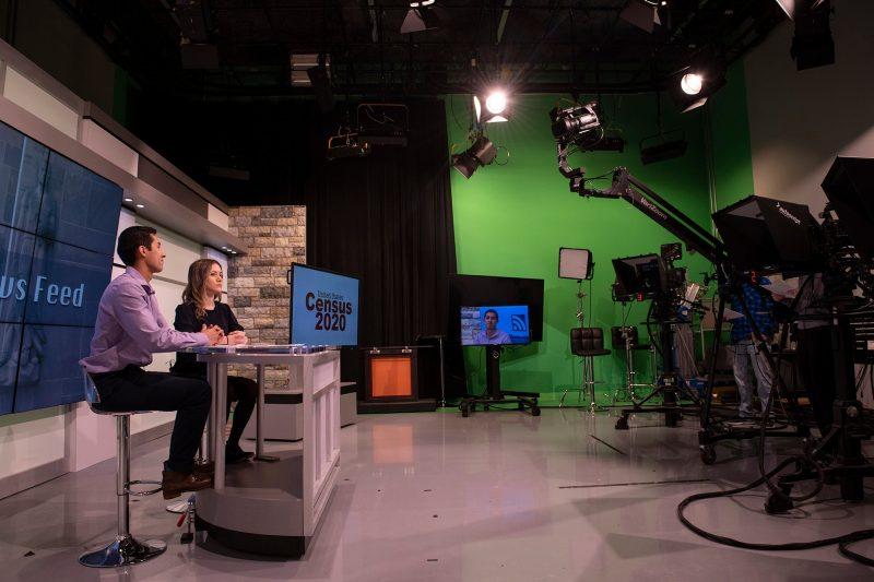 In February of this year, R.J. Garza and Ariadne Manikas, both 2020 graduates in multimedia journalism, hosted a news broadcast in the Department of Communication's studio