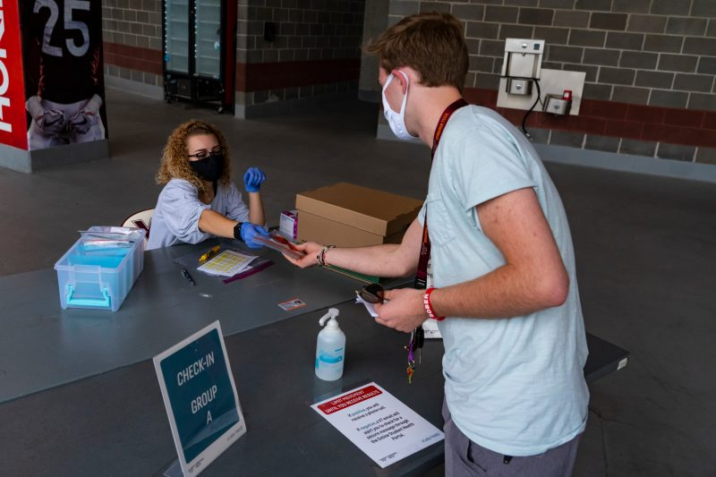 Virginia Tech students who are living on campus are required to be tested for COVID-19 at Lane Stadium during move-in. Photo by Lee Friesland for Virginia Tech.
