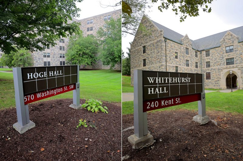 New signs for Hoge Hall and Whitehurst Hall were installed.