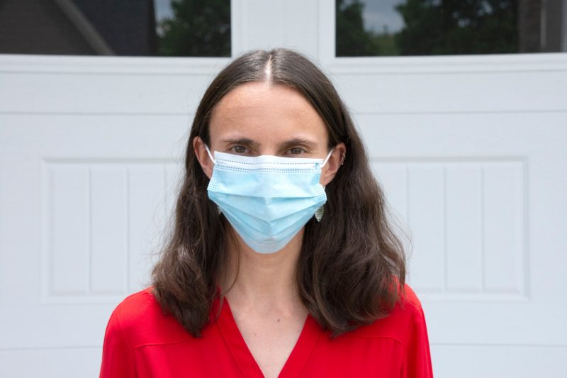 Lauren Childs, wearing a mask for protection during the COVID-19 pandemic, photographed at her home earlier this summer.