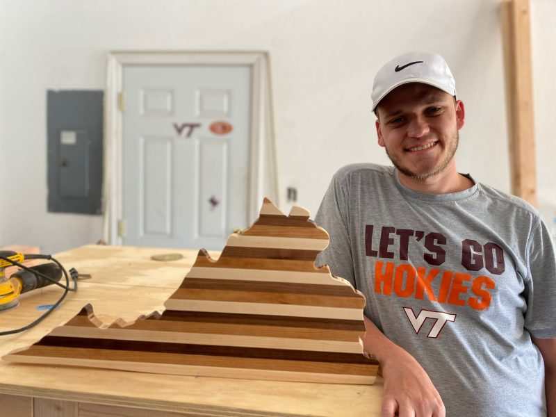 Jarred Green, who graduated in May from Virginia Tech, started his own woodworking business after returning home to Chesapeake, Virginia, when the pandemic began last spring. Photo by Meghan Green.