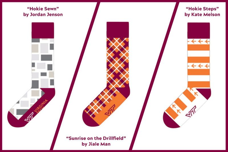 Images of three potential sock designs