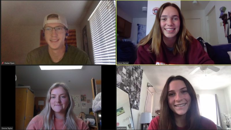 The student PetAware team meets over Zoom.
