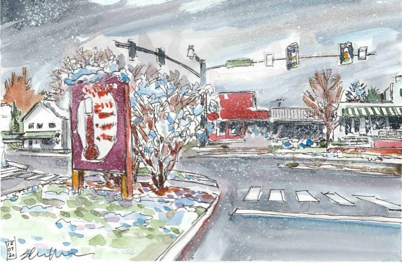 Doodle of Cloudy Day, CVC Sign, and Flurries on Alumni Mall