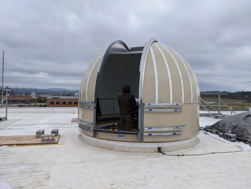 Virginia Tech's new telescope dome, currently under construction, is fully automated and can be operated remotely from one of Virginia Tech's ground station operations centers.
