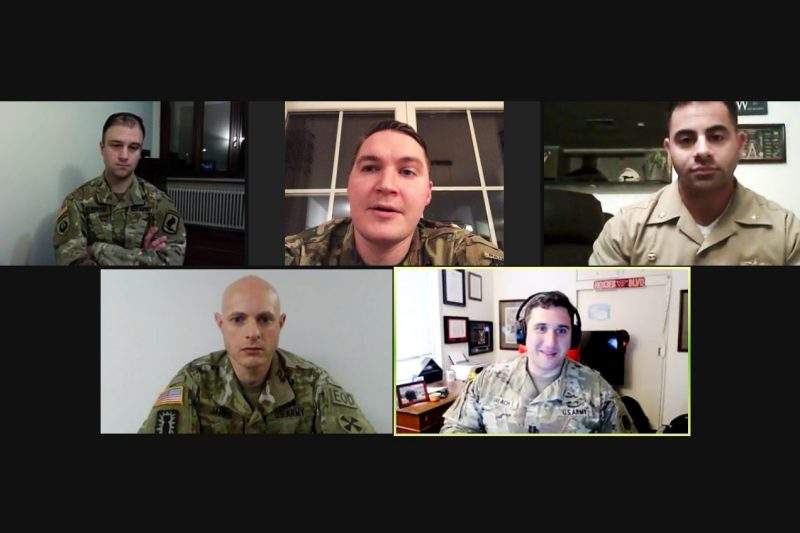 Clockwise from top left: Virginia Tech alumni Maj. Brian Alberts, Maj. Nick Nelson, Lt. Cmdr. Anthony LaVopa, Capt. Matt Balach, and Lt. Col. Ian Jarvis are shown on a Zoom screen.