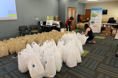 Donation bags are organized