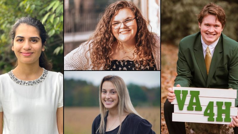 "Virginia 4-H honored four members with the Youth in Action awards. Left: Perisa Ashar. Top-Center: Becca Berglie. Bottom-Center: Samantha Whysong. Right: Andrew ""Charlie"" Sloop."