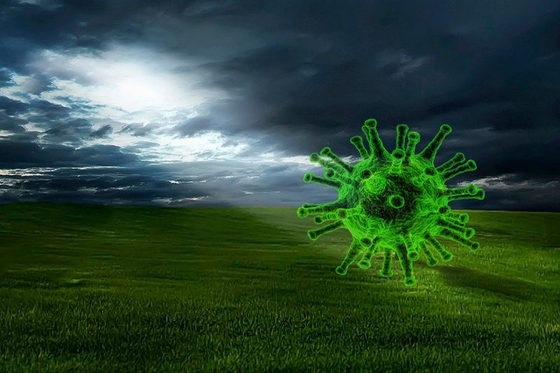 An illustration of the coronavirus hovering over a field of green