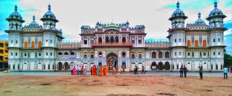 This is a picture of Janaki Mandir, a colorful Hindu temple in Janakpur, Nepal. Photo courtesy of Code for Nepal.