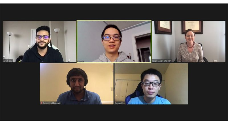 From top left to bottom most right, Ayush Dev, Weichen Li, Eileen Martin, Srikanth Jakkampudi, and Junzhu Shen hold a meeting via Zoom. Screen capture image by Melissa Vergara.